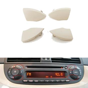 Dla Fiat 500 radio cd przycisk przyciski kość słoniowa krem wykończenia formy pokrywa usuwanie 4 sztuk wymiana samochodu pasuje do Fiat 500 2008 + tanie i dobre opinie Blendy 2008+ fit for Fiat 500 2008+ white black Car panel