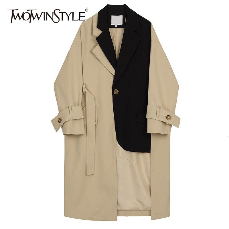 TWOTWINSTYLE 2019 New Autumn Winter Lapel Long Sleeve Hit Color Split Joint Loose Long Big Size Windbreaker Women Trench Fashion