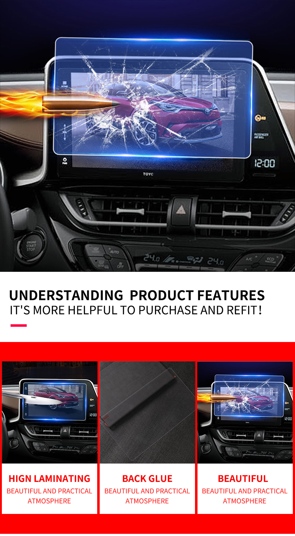 Car Display Tempered Glass Screen Protector For Honda Civic Outlander 2016-2018
