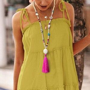 Luokey богемное винтажное длинное ожерелье-цепочка с кисточкой из бисера ручной работы этнические модные камни деревянная Подвеска Ожерелье ...