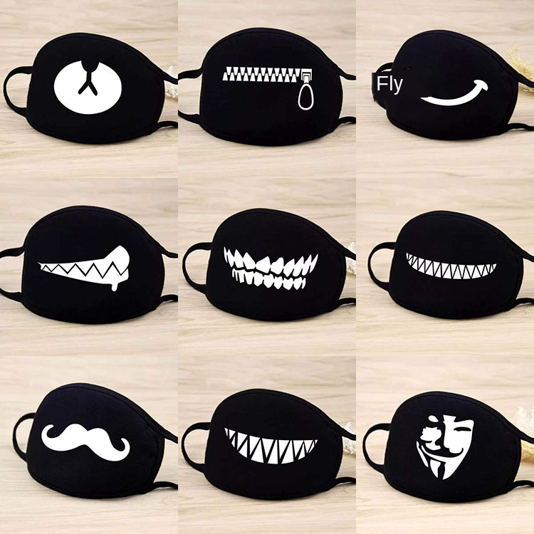 Black Face Mask Women's Autumn And Winter Riding Warm Face Mask Cool Printed Fashion Dust Respirator