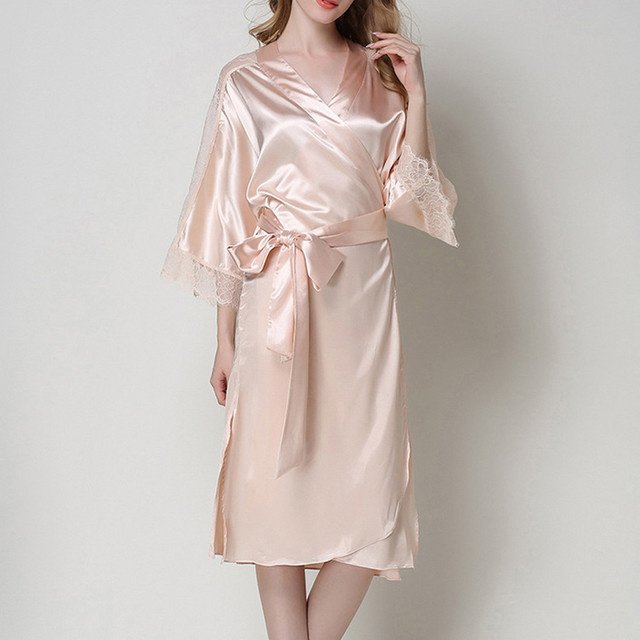 Sexy Nightgown Women Lace Splice Long Bathrobe Faux Silk Sleepwear Nightdress Kimono Robes Bride Bridesmaid Robes Dressing Gowns
