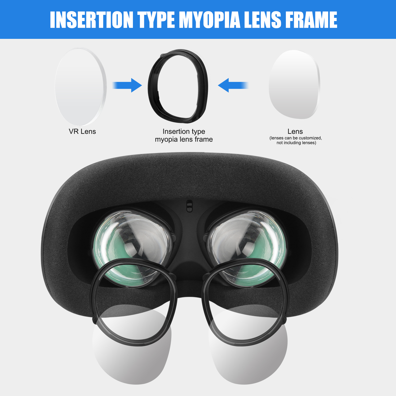 For Oculus Quest 2 VR Magnetic Eyeglass Anti-Blue Lens Frame Quick Disassemble Clip Lens Protection For Oculus Quest 2 Glasses