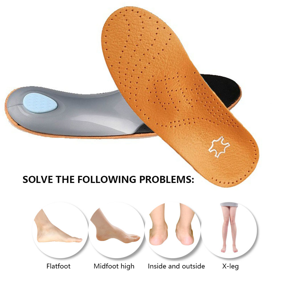 1 Pair Unisex Orthotic Flatfoot Shoe Insoles Leather High Arch Support Orthopedic Pad for Correction OX Leg Health foot Care