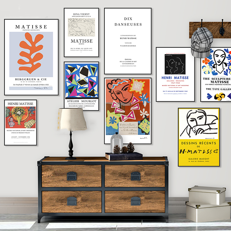 Retro Posters Paintings Wall-Artwork Abstract Home-Decoration Nordic Matisse Pictures