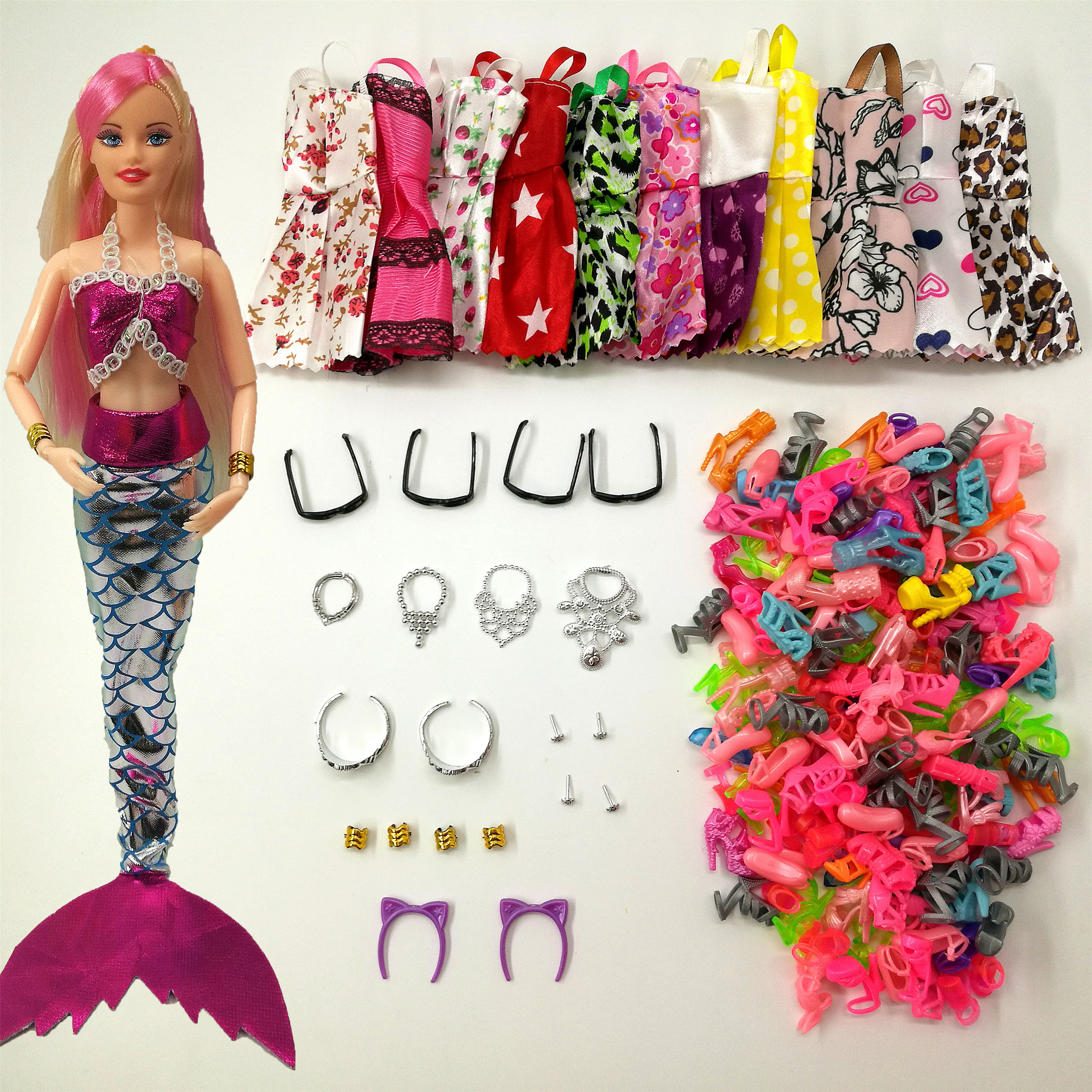33 Item/Set Doll Accessories = 8Pcs Shoes + 4 Necklace 4 Glasses 1 Mermaid Tail Dress + 8 Pcs Doll Dress Clothes For Barbie Doll