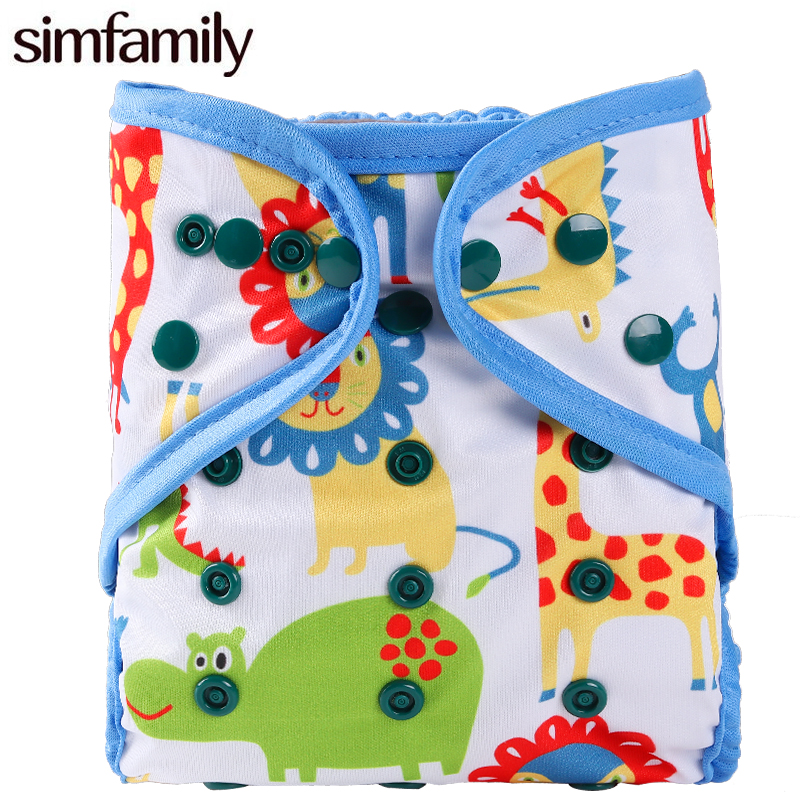 [simfamily]New Arrival 1PC Washable Cloth Diaper Cover Double Gusset Nappy PUL Suit 3-15kgs Adjustable Cloth Baby Nappies