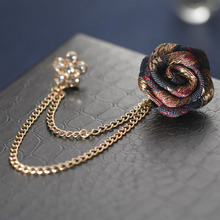 New Vintage Mixed Fabric Rose Brooches Tassel Chain Men Suit Collar Brooch Lapel Pin Brooches For Women Jewelry Accessories brooches tassel chain vintage mixed fabric rose men suit collar brooch broche lapel pin brooches for women jewelry accessories