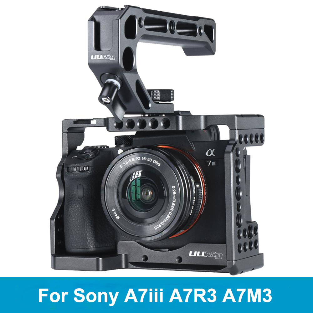 UURig C-A73 Camera Cage For Sony A7III Standard Arca-Style Quick Release Plate With Top Handle Grip For Sony A7iii A7R3 A7M3