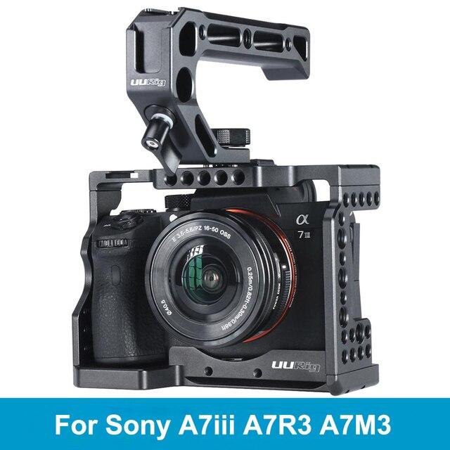 UURig C A73 소니 A7III A7R3 A7M3 용 메탈 카메라 케이지 리그 탑 핸들 그립이있는 콜드 슈 마운트 Arca 스타일 퀵 릴리스 마운트