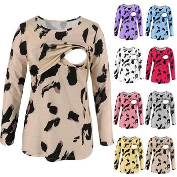 Breastfeeding Clothes Round Neck Leopard Print Long Sleeve T-shirt For Pregnant Women Maternity Nursing Clothing Pregnancy Shirt summer clothing t shirt for pregnant women maternity clothing breastfeeding clothes long sleeve nursing tops pregnancy clothes
