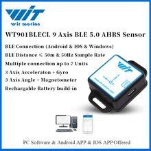 Witmotion bluetooth ble 5.0 9 axis sensor de baixo consumo wt901blecl ângulo + aceleração + giroscópio + mag mpu9250 no pc/android