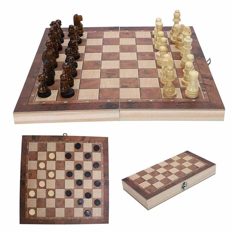 Venda grande qualidade de madeira dobrável conjunto xadrez xadrez de madeira maciça peças de madeira tabuleiro entretenimento jogos crianças presentes 2021|Jogos de xadrez|   -
