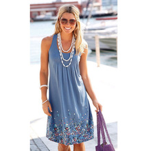 Summer womens dress, sleeveless printed loose dress in Europe and America, S-XXXXXL various colors