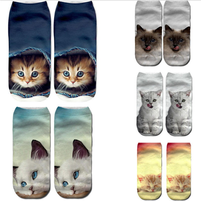 2020 New Spring Autumn Printed Boat Socks Cute Cartoon Bulldog Chihuahua Funny Socks Pumpkin Printing Boat Socks Female