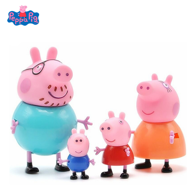 4pk Peppa Pig Original Action Figure Dolls Family Dad Mom Grandpa Grandma George Peppa Toys Model Child Birthday Xmas Gift