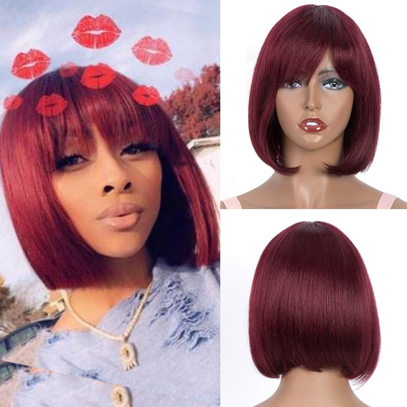 Rebecca Pixie Cut Bob Wig Peruvian Remy Straight Short Human Hair Wigs For Women Ombre Red Blue Blond Color Human Hair Bangs Wig
