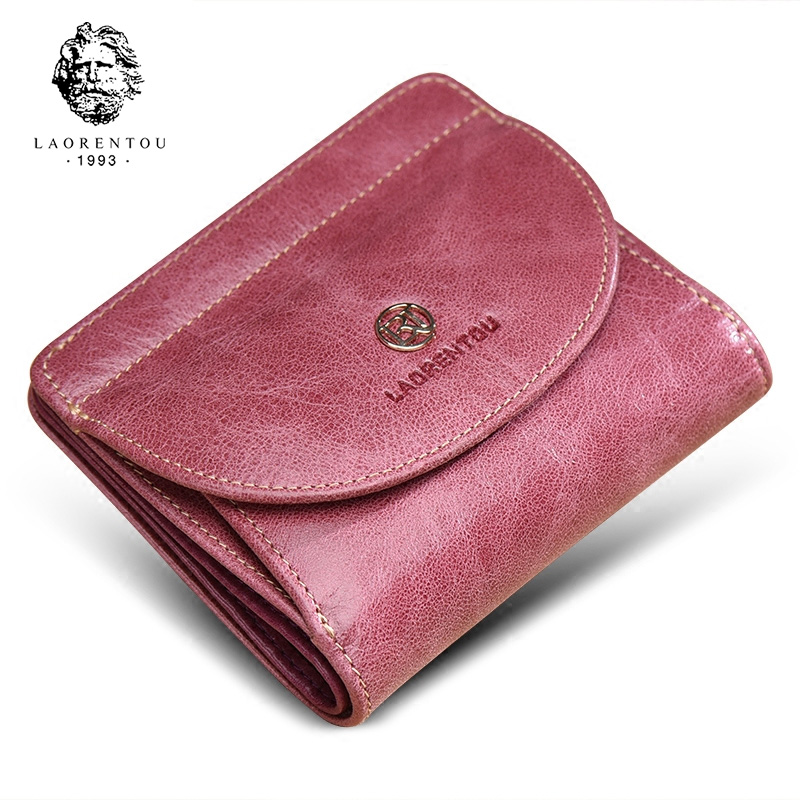 LAORENTOU Brand Women Short Wallets Genuine Leather Standard Wallets Fashion Zipper Purse Lady Coin Pocket Card Holder For Woman
