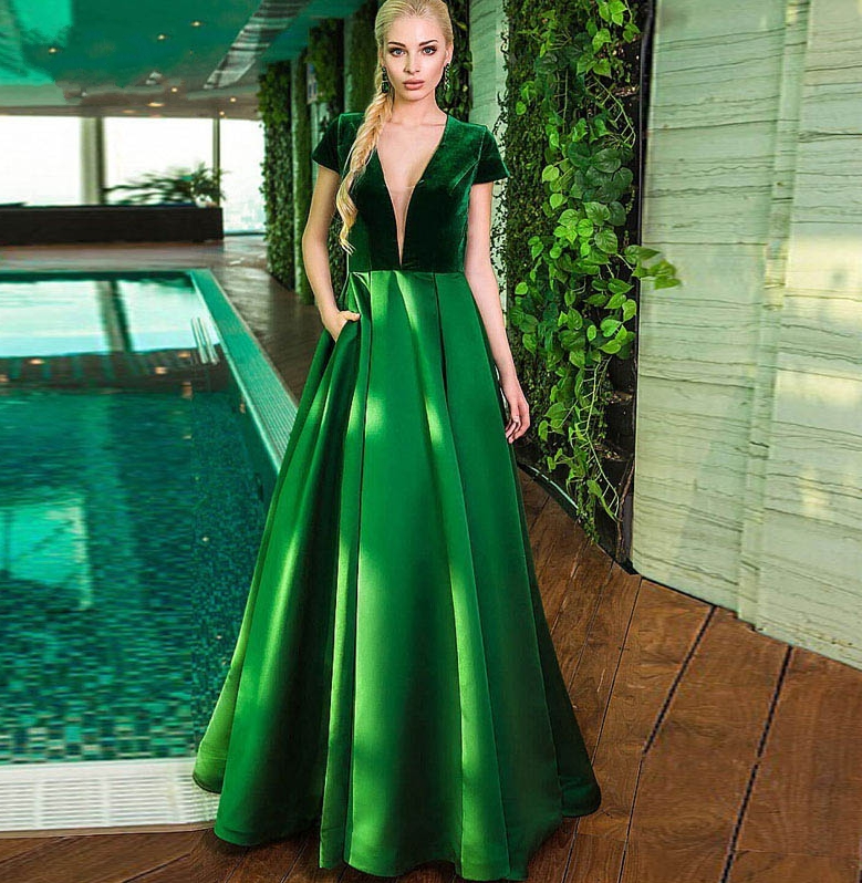 Elegant Green V Neck Short Sleeves Long Evening Dresses 2020 Pocket Velvet Abendkleider Formal Prom Gowns Vestido De Fiesta