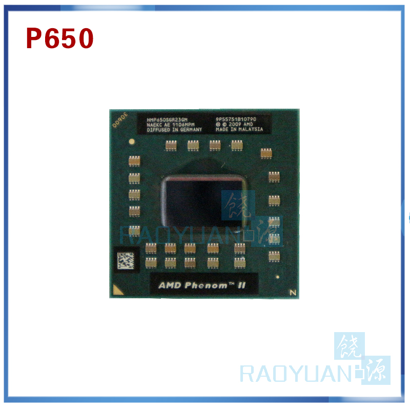 Laptop Cpu Processor AMD  Phenom P650 HMP650SGR23GM P650 CPU Dual Core 2.60 GHz 2MB L2 Cache Socket S1 (S1g4) PGA638