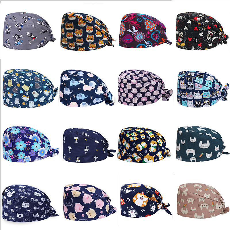 Sanxiaxin Pharmacy Doctor Surgical Cap Anime Print Scrub Cap Pet Grooming Doctor Work Cap Cotton Medical Use Doctor Nurse Cap