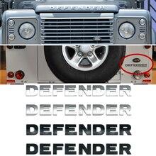 Montagem da frente do carro capô emblema tronco traseiro adesivo emblema para land rover defender letras emblema decalque decoração