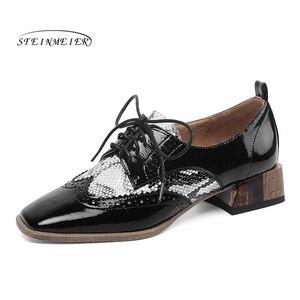 Image 1 - נשים קיץ עור נעלי אישה מבטא אירי דירות גברת נעלי בציר סניקרס שרוכים אביב נעליים יומיומיות עבור נשים 2020