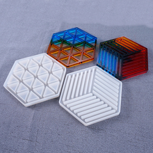 Coaster Concrete Silicone Mould Diamond Stripe shaped Design DIY Epoxy Resin Gypsum Crafts