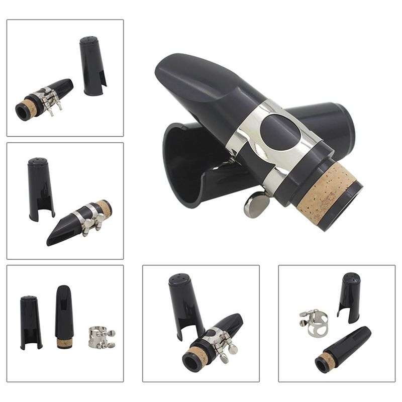 Black Plastic B Flat Clarinet Mouthpiece & Cap Clamp Woodwind Instruments