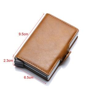 Image 2 - למעלה איכות Rfid גברים ארנק כסף תיק מיני ארנק זכר אלומיניום כרטיס ארנק קטן מצמד עור ארנק דק ארנק carteras 2020