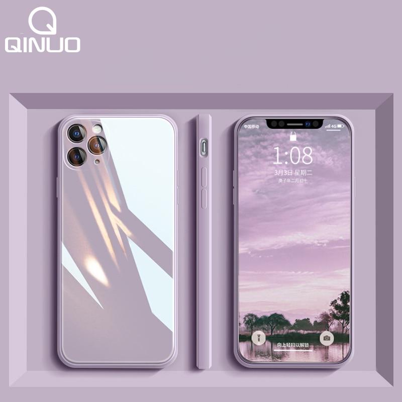 Custodia quadrata in vetro temperato liquido per iPhone 11 12 Mini Pro Max XS XR X 7 8 Plus SE2020 protezione originale per caramelle in Silicone 1