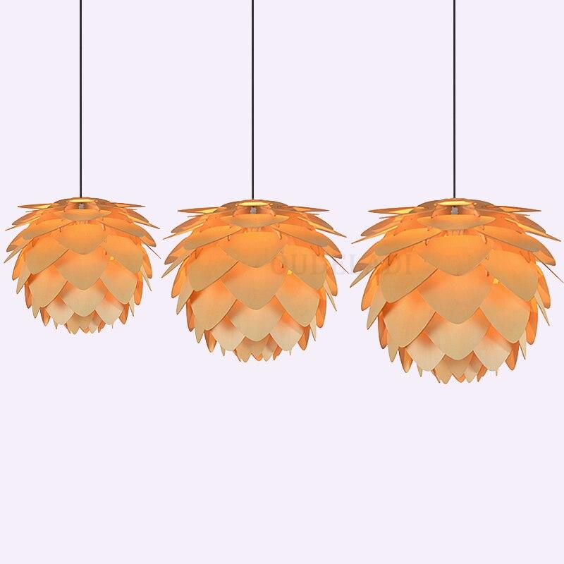 Art moderne en bois pomme de pin pendentif lumières maison Restaurant suspendus bois pendentif lampes maison décorative luminaires E27