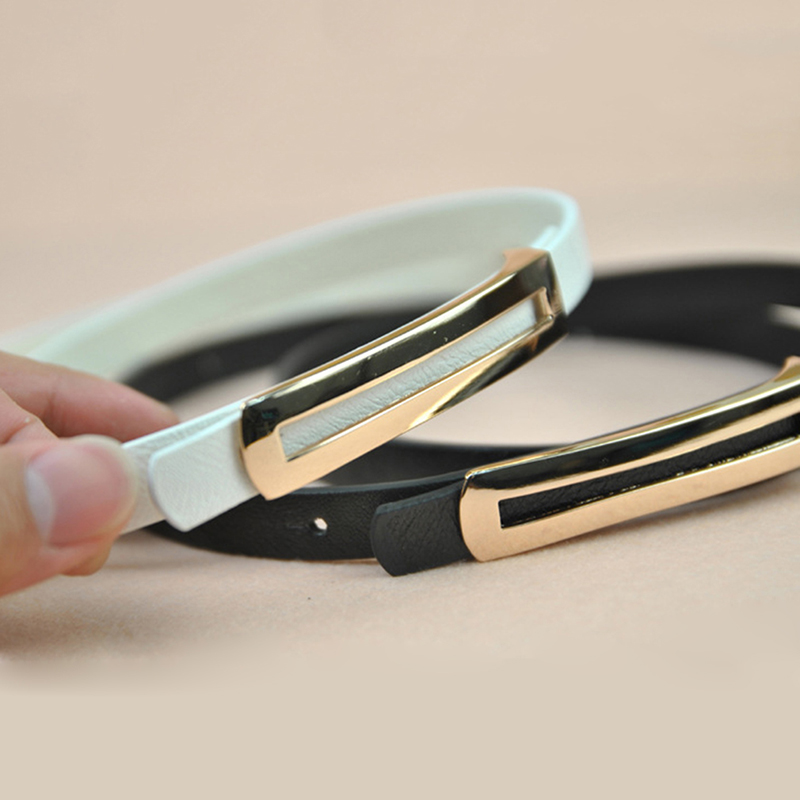 Luxury Metal Buckle Thin Belt Classic Wild Female Minimalist Thin Belt Straps Waistband Cummerbund For Apparel Accessories