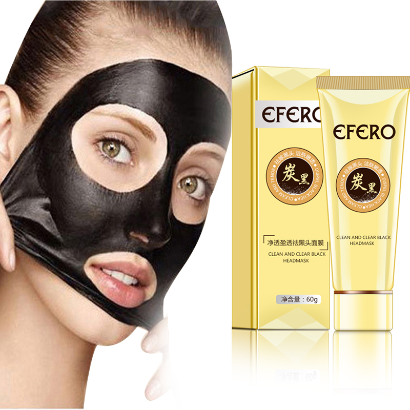EFERO 60g Suction Nose Black Mask For Face Care Acne Blackhead Remover Mask Black Head Pore Strip Black Dots Peel Off Face Mask