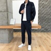 Men Casual set Long Sleeve Set with Zipper Fashion Standing collar Sweatshirts for Male Sport Set