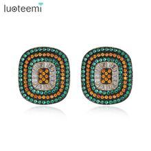 LUOTEEMI, Винтажный дизайн, цветные квадратные серьги-гвоздики для женщин, для свадебной вечеринки, зеленый/оранжевый кубический циркон, мощеные, модные, Oorbellen