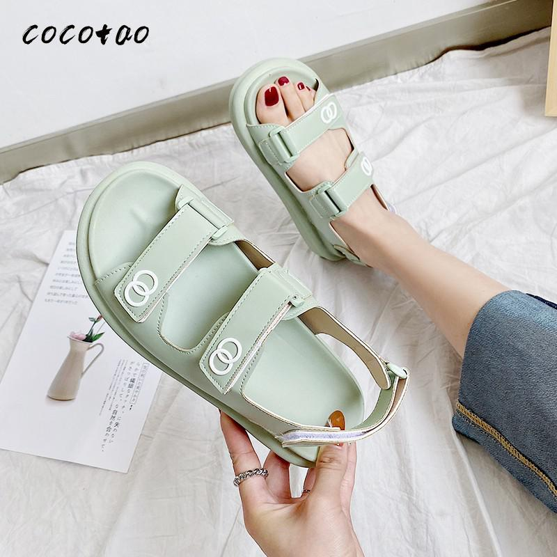 2020 New Small Fragrance Style Fashion Sports Thick Bottom Sandals Velcro Sandals Women's Word Belt Comfortable Beach Shoes|Low Heels| - AliExpress