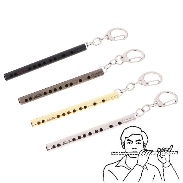 Mini pocket Musical Instrument Keychain Cosplay prop Accessories flute keyring key chain Pendant