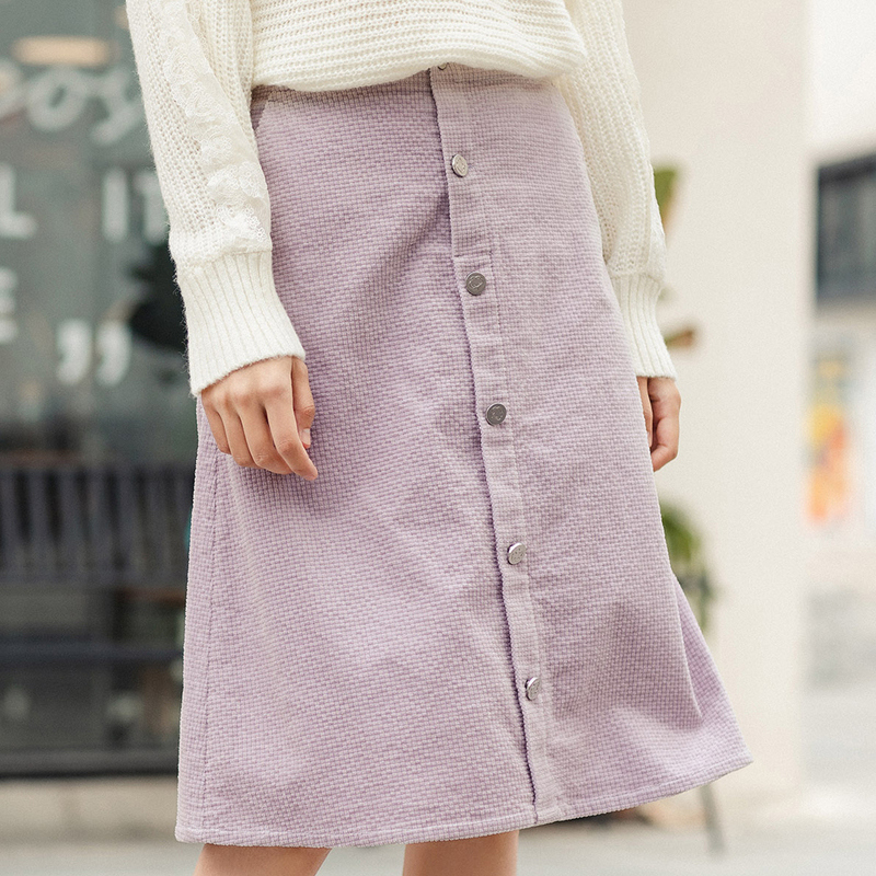 Image 4 - INMAN 2020 Spring New Arrival Literary High Wasit Single Breasted A Pendulum Loose SkirtSkirts   -