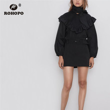 ROHOPO Tie Bow Collar Puff Long Sleeve Ruffled Front Poplon Black Blouse Smocking Shoulder Round Edge Pullover Top Blusa #6463