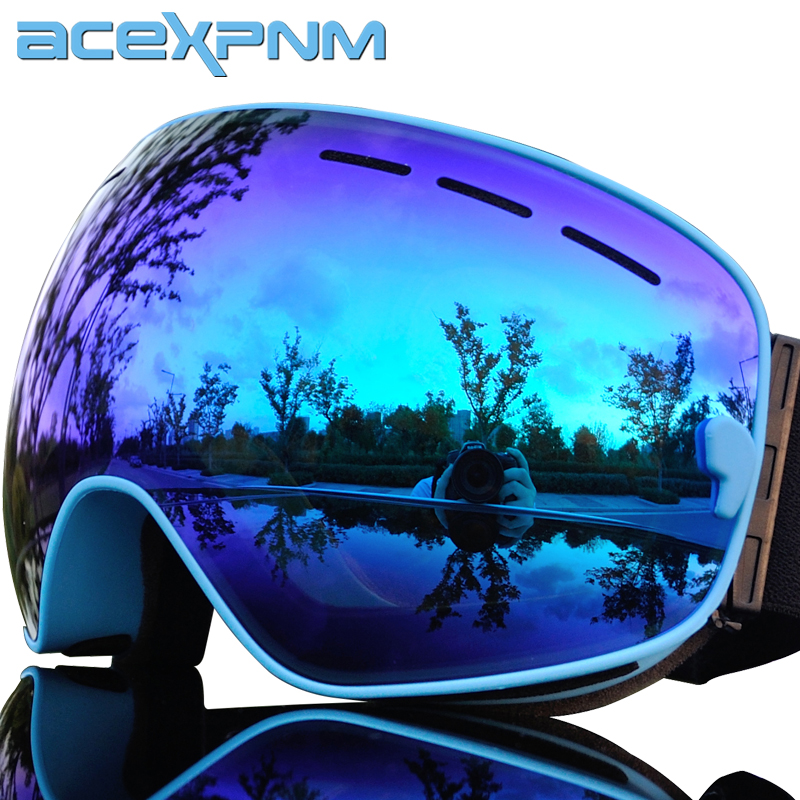 ACEXPNM Brand Ski Goggles Double Layers UV400 Anti-Fog Big Ski Mask Glasses Skiing Men Women Snow Snowboard Goggles