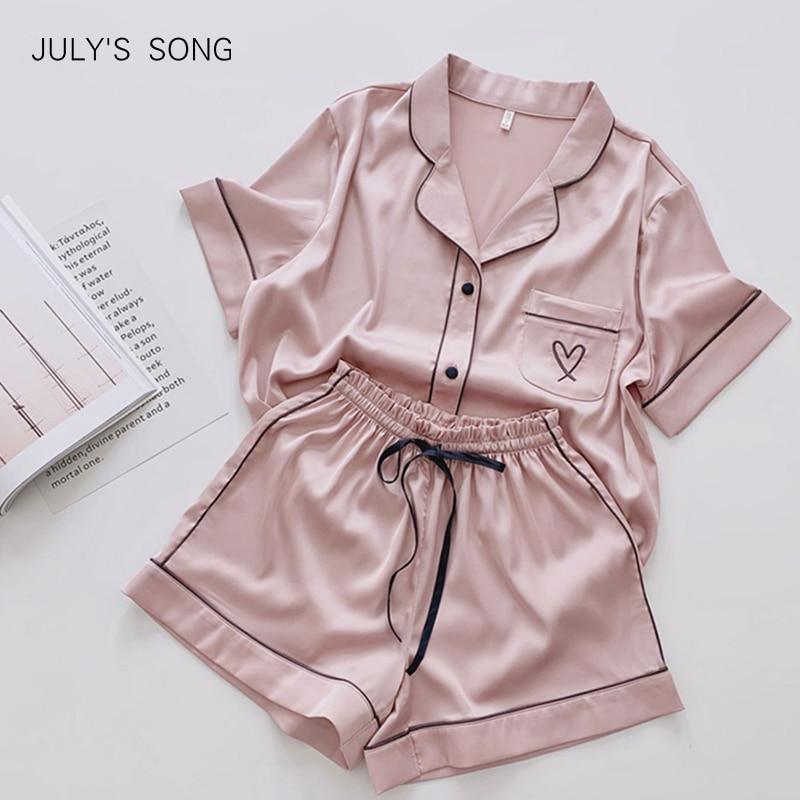 JULY'S SONG Heart Embroidery Pajamas Women Solid Pink Summer Pajamas Sleepwear Casual Soft Faux Silk Satin Nightwear Homewear