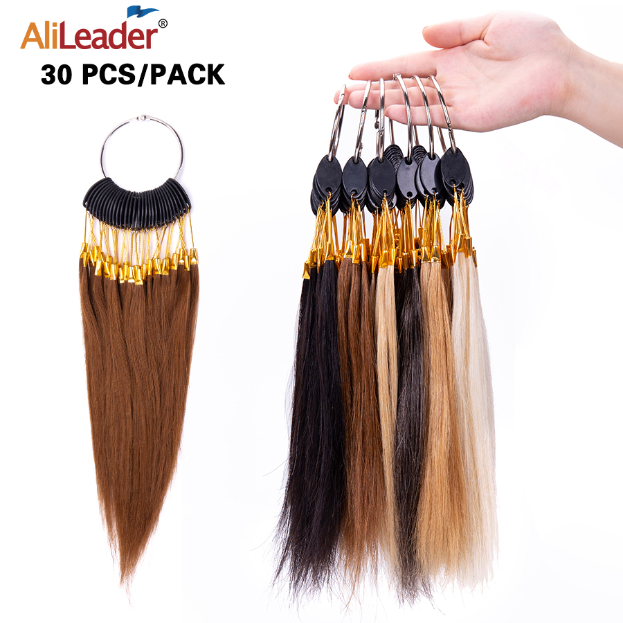 Alileader 30Pcs/Set Human Hair Color Rings 20Cm Testing Color Sample Chart Swatches For Hair Extension Salon Hair Dyeing Sample