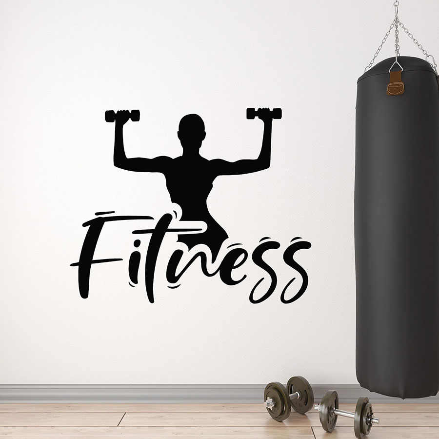 Fitness Club Logo Wall Decal Boys Girls Training Exercise Sport Gym Interior Decor Art Door Window Vinyl Stickers Wallpaper Q966 Aliexpress