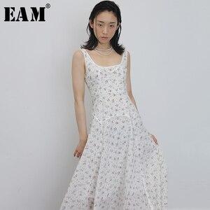 Женское платье EAM, белое платье с принтом, круглый ворот, без рукавов, свободный крой, весна-лето 2020 1U571