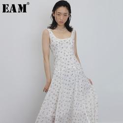 [EAM] Women White Pattern Printed Temperament Dress New Round Neck Sleeveless Loose Fit Fashion Tide Spring Summer 2020 1U571