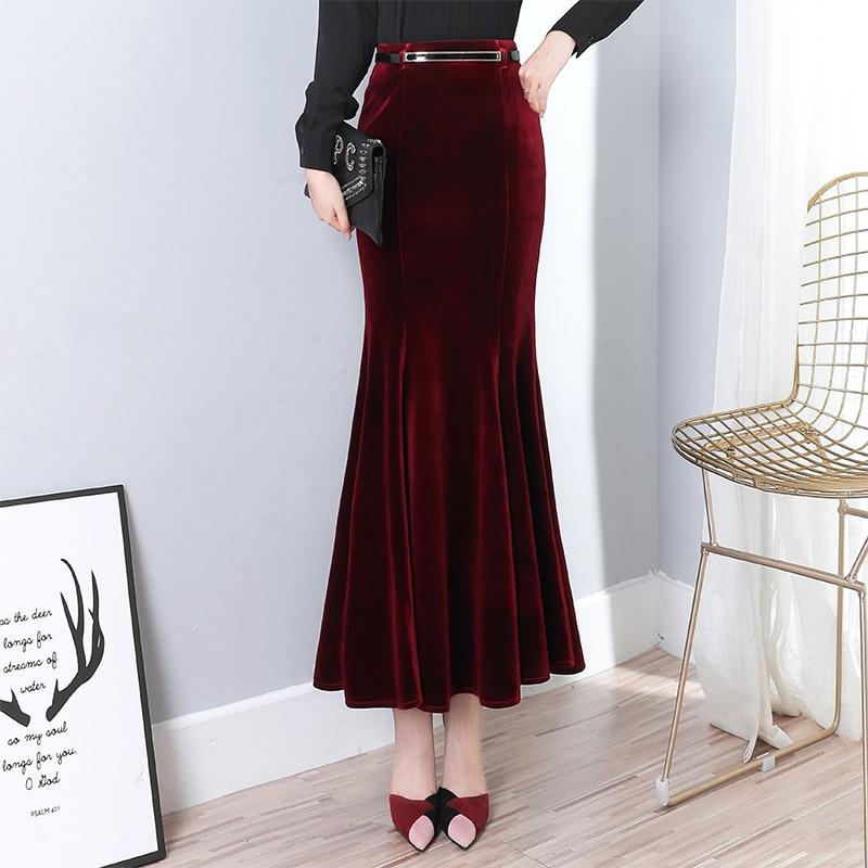 Image 5 - Осенне зимняя черная длинная юбка женская винтажная бархатная  длинная юбка Русалка с бесплатным поясом плюс размер Элегантная  велюровая юбка 2295LYЮбки