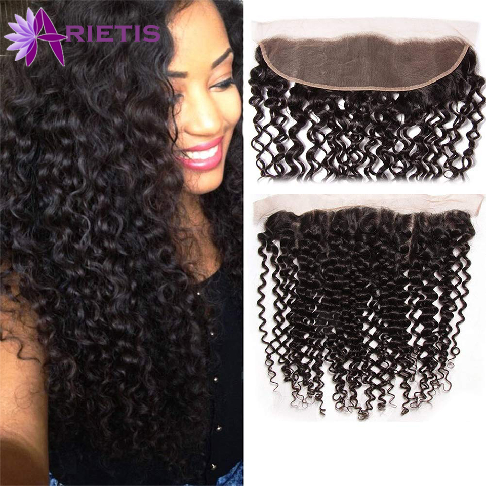 Arietis Hair 13X4 Lace Front Closure 100% Human Hair Lace Frontal Brazilian Kinky Curly Hair Remy Frontal Closure 8-20 Inch