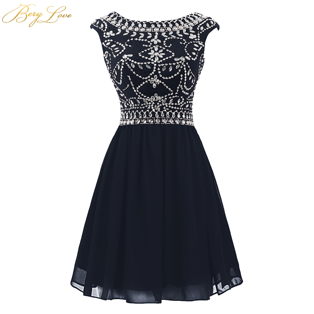 BeryLove Short Navy Blue Short   Prom     Dresses   2019 Scoop Neck Mini Beaded Homecoming Style V Back Graduation Gown Short Party