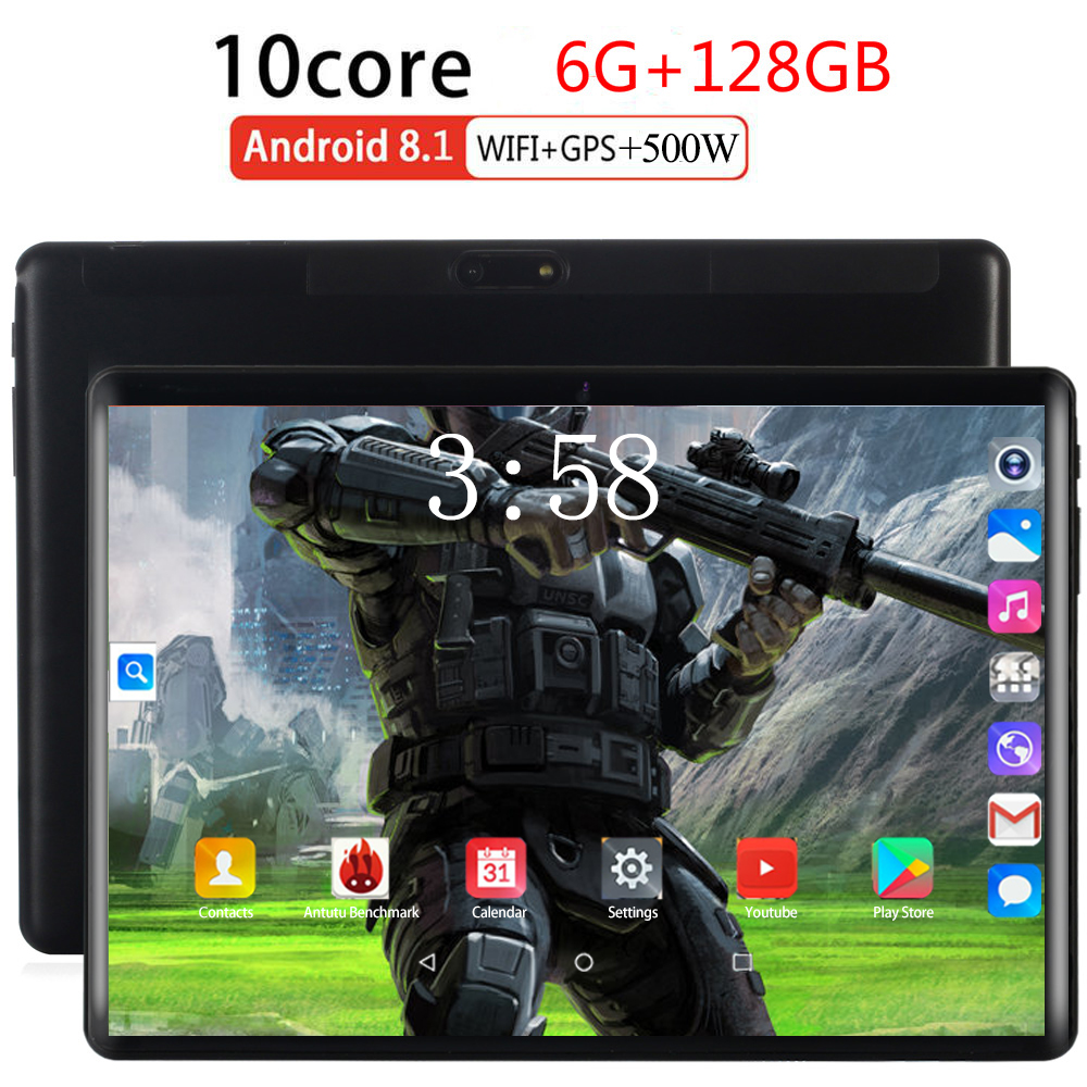 2020 128GB Multi-touch 2.5D Glass Screen 10.1 Inch Octa Core 4G FDD LTE Tablet 6GB RAM 128GB ROM Android 8.0 Tablet 10 Pocket PC